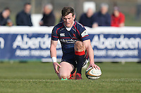 Peter Lydon of London Scottish prepares to convert his team's first try of the game during the Greene King IPA Championship match between London Scottish Football Club and Jersey at Richmond Athletic Ground, Richmond, United Kingdom on 18 February 2017. Photo by David Horn / PRiME Media Images.