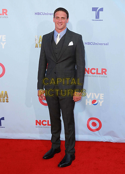 Ryan Lochte.2012 NCLR ALMA Awards - arrivals, held at The Pasadena Civic Auditorium, Pasadena, California USA..16th September 2012.full length black suit grey gray blue shirt.CAP/ADM/KB.©Kevan Brooks/AdMedia/Capital Pictures.