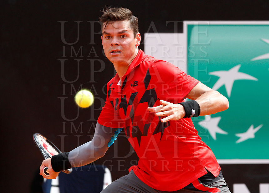 Il canadese Milos Raonic agli Internazionali d'Italia di tennis a Roma, 17 maggio 2014.<br /> Canada's Milos Raonic during the Italian open tennis tournament, in Rome, 17 May 2014.<br /> UPDATE IMAGES PRESS/Riccardo De Luca