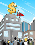Business super hero with dollar sign guiding people