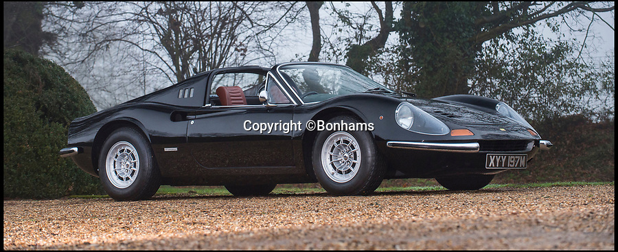 BNPS.co.uk (01202 558833)Pic: Bonhams/BNPS<br /> <br /> A vintage Ferrari that was formerly owned by Pink Floyd drummer Nick Mason has emerged for sale for a whopping £425,000.<br /> <br /> The Dino 246 GT Spider was built back in 1973 and imported to the UK in August of that year. <br /> <br /> Once in Britain, the convertible became part of the legendary musician's famous car collection which is thought to have contained around 30 Ferraris over the years.<br /> <br /> Mason, a keen racing enthusiast, recently admitted to not knowing how many vehicles he currently owns but the figure is believed to be more than 40.<br /> <br /> One car that is not part of that number however is the still pristine Dino, which he sold with some time before 1983.