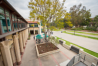 Photo of the Rose Hills Foundation Plaza outside the Student Activities Center of the Johnson Student Center, March 20, 2018.<br />