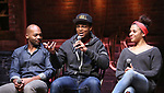 """Brandon Victor Dixon, J. Quinton Johnson and Sasha Hollinger during the Q & A for The Rockefeller Foundation and The Gilder Lehrman Institute of American History sponsored High School student #EduHam matinee performance of """"Hamilton"""" at the Richard Rodgers Theatre on 3/15/2017 in New York City."""
