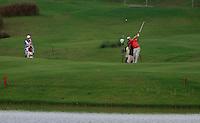 Padraig Harrington (IRL) plays his 2nd shot into the 18th green during Sundays Final Round 3 of the 54 hole Iskandar Johor Open 2011 at the Horizon Hills Golf Resort Johor, Malaysia, 19th November 2011 (Photo Eoin Clarke/www.golffile.ie)