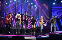 NASHVILLE, TN - JUNE 5: Jimi Westbrook, Kimberly Schlapman Karen Fairchild and Philip Sweet of Little Bigtown perform with Thomas Rhett, on the 2019 CMT Music Awards at Bridgestone Arena on June 5, 2019 in Nashville, Tennessee. (Photo by Frank Micelotta/PictureGroup)