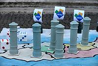 Roma, 8 Aprile 2017<br /> Flash mob in Campidoglio per l'acqua pubblica, e la ripubblicizzazione di ACEA.<br /> Un grande RisiKo con  carriarmati Acea contro le fontanelle (nasoni).