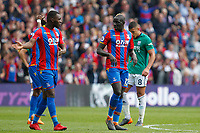 Christian Benteke chats with Mamadou Sakho of Crystal Palace during the EPL - Premier League match between Crystal Palace and West Bromwich Albion at Selhurst Park, London, England on 13 May 2018. Photo by Carlton Myrie / PRiME Media Images.