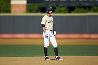 Patrick Frick (5) of the Wake Forest Demon Deacons takes his lead off of second base against the Virginia Cavaliers at David F. Couch Ballpark on May 19, 2018 in  Winston-Salem, North Carolina. The Demon Deacons defeated the Cavaliers 18-12. (Brian Westerholt/Four Seam Images)