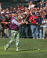 25 SEP 12  Comedian Bill Murray hits his tee shot on number 1during Tuesdays Celebrity Scramble at The 39th Ryder Cup at The Medinah Country Club in Medinah, Illinois.