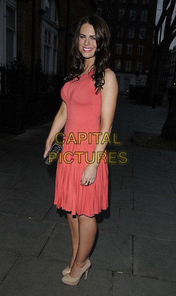 """Susie Amy.The """"My Beautiful Ball"""",The Landmark Hotel, London, England..April 11th, 2013.full length pink coral dress nude shoes black clutch bag sleeveless .CAP/CAN.©Can Nguyen/Capital Pictures."""