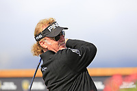 Miguel Angel Jimenez (ESP) tees off the 18th tee during Thursday's Round 1 of the 2017 Omega European Masters held at Golf Club Crans-Sur-Sierre, Crans Montana, Switzerland. 7th September 2017.<br /> Picture: Eoin Clarke | Golffile<br /> <br /> <br /> All photos usage must carry mandatory copyright credit (&copy; Golffile | Eoin Clarke)
