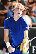 9th January 2018, ASB Tennis Centre, Auckland, New Zealand; ASB Classic, ATP Mens Tennis;  Stefanos Tsitsipas (GRE) during the ASB Classic ATP Men's Tournament Day 2