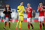 Daniel Ward of Wales applauds the fans on his debut during the international friendly match at the Cardiff City Stadium. Photo credit should read: Philip Oldham/Sportimage