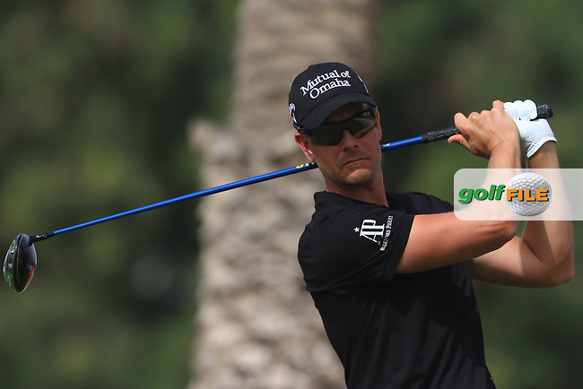 Henrik Stenson (SWE) on the 3rd tee during Round 2 of the Omega Dubai Desert Classic, Emirates Golf Club, Dubai,  United Arab Emirates. 25/01/2019<br /> Picture: Golffile | Thos Caffrey<br /> <br /> <br /> All photo usage must carry mandatory copyright credit (© Golffile | Thos Caffrey)