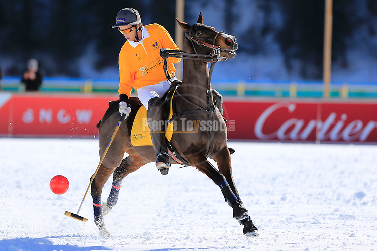 Polo game Team Cartier vs Team Perrier-Jouet  at  the Snow Polo World Cup Tournament in St Moritz, on January 29, 2016.