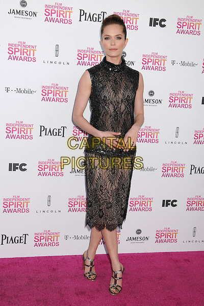 Katie Aselton.2013 Film Independent Spirit Awards - Arrivals held at Santa Monica Beach.  .Santa Monica, California, USA, .23rd February 2013..indy indie indies indys full length dress  black high neck hair up bun  beaded  lace strappy sandals .CAP/ADM/BP.©Byron Purvis/AdMedia/Capital Pictures.