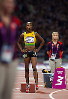 05 AUG 2012 - LONDON, GBR - Rosemarie Whyte (JAM) of Jamaica waits for the start of the women's 400m final during the London 2012 Olympic Games athletics in the Olympic Stadium at the Olympic Park in Stratford, London, Great Britain (PHOTO (C) 2012 NIGEL FARROW)