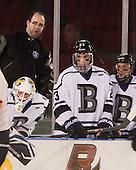 Gabe Antoni (Bentley - 1), Ben Murphy (Bentley - Assistant Coach), Alex Grieve (Bentley - 23), Brett Switzer (Bentley - 25) (Soderquist) - The Bentley University Falcons defeated the College of the Holy Cross Crusaders 3-2 on Saturday, December 28, 2013, at Fenway Park in Boston, Massachusetts.