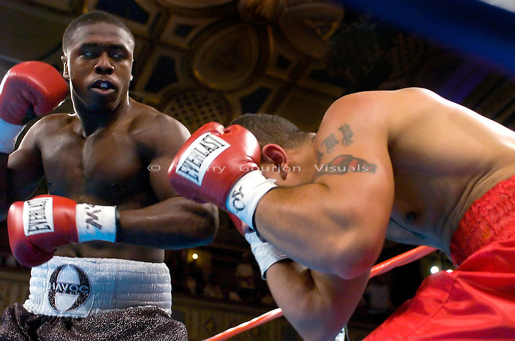 Andre Berto (l) on the attack against  Anthony Little during their 6 rounds  Junior Middleweight fight at the Manhattan Center in N.Y.C. on 06.05.05. Berto won by TKO in the 6 round.<br />