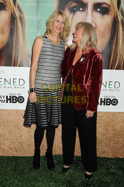 "Laura Dern and Diane Ladd.HBO's ""Enlightened"" Los Angeles Premiere held at Paramount Studios, Los Angeles, California, USA. .October 6th, 2011.full length black tights grey gray sleeveless dress striped stripes trousers red velvet jacket profile.CAP/ADM/BP.©Byron Purvis/AdMedia/Capital Pictures."