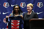 17 January 2014: Crystal Dunn, with NWSL Executive Director Cheryl Bailey, was selected with the first overall pick by the Washington Spirit. The 2014 National Women's Soccer League Draft was held at the NSCAA Annual Convention in the Pennsylvania Convention Center in Philadelphia, Pennsylvania.