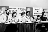 August 28, 1987 File Photo - Montreal (Qc) Canada -Kenny aka the  Kid Brother press conference t at 1987 World Film Festival.<br /> The movie directed by Claude Gagnon won the Grand-Prix des Amerique - Grand Prize of the Americas that year<br /> IN PHOTO : Claude Gagnon, Liane Curtis, Jesse Easterday Jr. , Kenny Easterday , producer Kiyoshi Fujimoto and ?