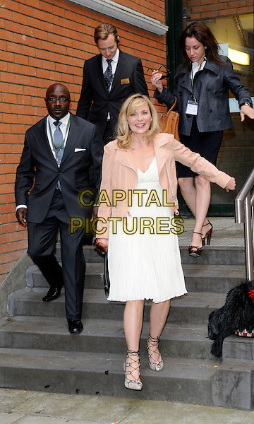 KIM CATTRALL .Opens Harrods Summer Sale, Knightsbridge, London, England..June 30th, 2008.full length pink peach cream beige jacket white dress lacy strappy sandals shoes .CAP/FIN.©Steve Finn/Capital Pictures.