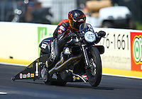 Mar 20, 2016; Gainesville, FL, USA; NHRA pro stock motorcycle rider Andrew Hines during the Gatornationals at Auto Plus Raceway at Gainesville. Mandatory Credit: Mark J. Rebilas-USA TODAY Sports
