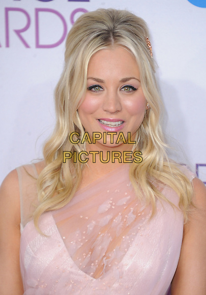 Kaley Cuoco.The 2013 People's Choice Awards held at Nokia Live in Los Angeles, California 9th January 2013                                                                   .headshot portrait pink sheer lace .CAP/DVS.©DVS/Capital Pictures.