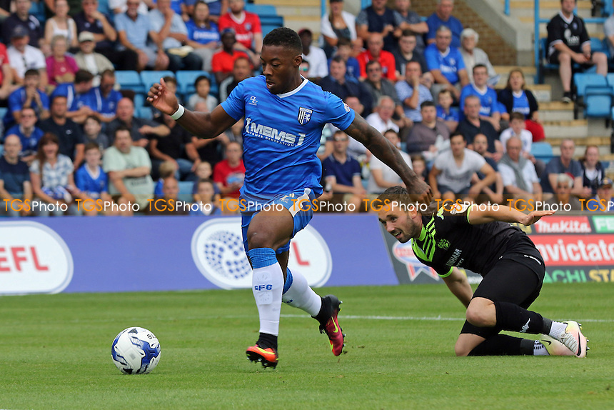 Ryan Jackson races into the Bury penalty area to score Gillingham's opening goal during Gillingham vs Bury, EFL League 1 Football at the MEMS Priestfield Stadium on 13th August 2016