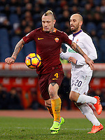 Calcio, Serie A: Roma vs Fiorentina. Roma, stadio Olimpico, 7 febbraio 2017.<br /> Roma's Radja Nainggolan, left, prepares to kick to score as he is chased by Fiorentina Borja Valero during the Italian Serie A soccer match between Roma and Fiorentina at Rome's Olympic stadium, 7 February 2017.<br /> UPDATE IMAGES PRESS/Riccardo De Luca