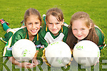 ON THE BALL: Enjoying the Kerry GAA VHI Cul Camp in Caherciveen on Friday last were Emer O'Sullivan (Ballinskelligs), Saoirse Kirby (Ballinskelligs) and Shannon O'Sullivan (Caherciveen)..