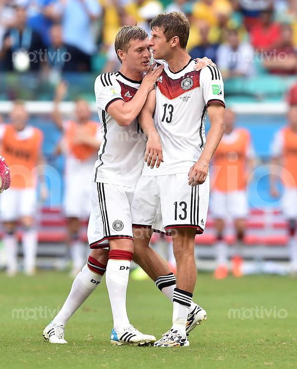 FUSSBALL WM 2014  VORRUNDE    Gruppe G     Deutschland - Portugal              16.06.2014 Toni Kroos (li) und Thomas Mueller (re, beide Deutschland)