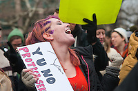 New York, NY - December 17 - Occupy Wall street protesters launched Occupy 2.0, marking their three month anniversary with Music, dance and street theatre in Duarte Square. 50 people were arrested when they scaled a fence attempting to occupy a vacant lot owned by Trinity Cuurch.