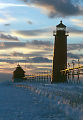 Grand Haven South Pier Lighthouse, Lake Michigan, Lower Peninsula of Michigan at sunset.