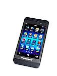 Blackberry Z10 smartphone. Black phone isolated on white background