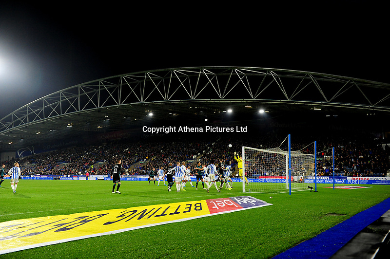 Kamil Grabara of Huddersfield Town in action during the Sky Bet Championship match between Huddersfield Town and Swansea City at The John Smith's Stadium in Huddersfield, England, UK. Tuesday 26 November 2019