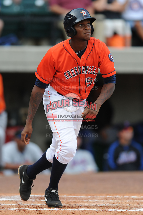 Greenville Astros right fielder Ariel Ovando #58 homers in the third inning of a game against the Kingsport Mets at Pioneer Park on August 4, 2013 in Greenville, Tennessee. The Astros won the game 17-1. (Tony Farlow/Four Seam Images)