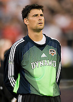 Dynamo goalkeeper Pat Onstad during the national anthem. D.C. United defeated the Houston Dynamo 2-0 at RFK Stadium in Washington, D.C. on April 15, 2006