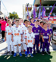 3rd November 2019; HBF Park, Perth, Western Australia, Australia; A League Football, Perth Glory versus Central Coast Mariners; Young Perth Glory mascots before the start of the game - Editorial Use