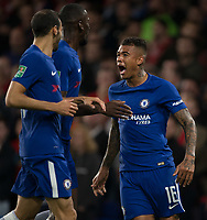 Kenedy of Chelsea celebrates scoring a goal 1 0 during the Carabao Cup (Football League cup) 23rd round match between Chelsea and Nottingham Forest at Stamford Bridge, London, England on 20 September 2017. Photo by Andy Rowland.