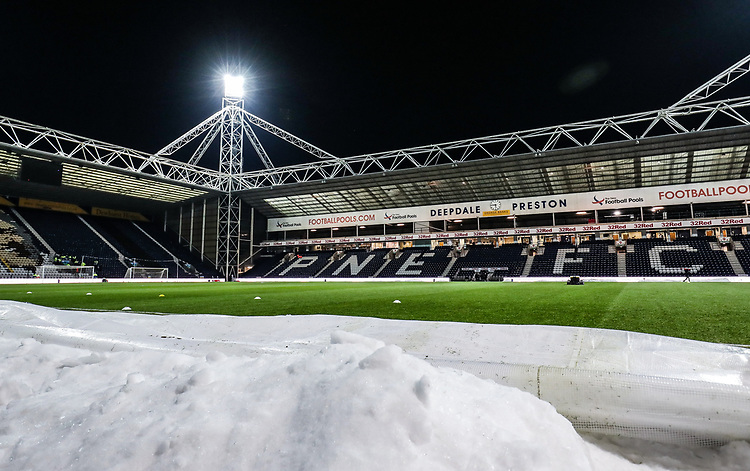A general view of the snow lining the edge of the pitch at the Deepdale stadium <br /> <br /> Photographer Andrew Kearns/CameraSport<br /> <br /> The EFL Sky Bet Championship - Preston North End v Derby County - Friday 1st February 2019 - Deepdale Stadium - Preston<br /> <br /> World Copyright © 2019 CameraSport. All rights reserved. 43 Linden Ave. Countesthorpe. Leicester. England. LE8 5PG - Tel: +44 (0) 116 277 4147 - admin@camerasport.com - www.camerasport.com