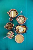 Nopal dishes. Tlaxacalanncongo, San Andres Cholula, Puebla, Mexico