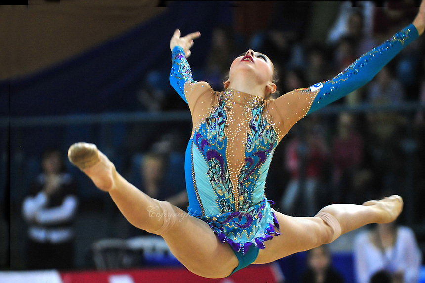 Daria Kondakova of Russia performs with hoop at 2011 Holon Grand Prix, Israel on March 4, 2011.  (Photo by Tom Theobald).