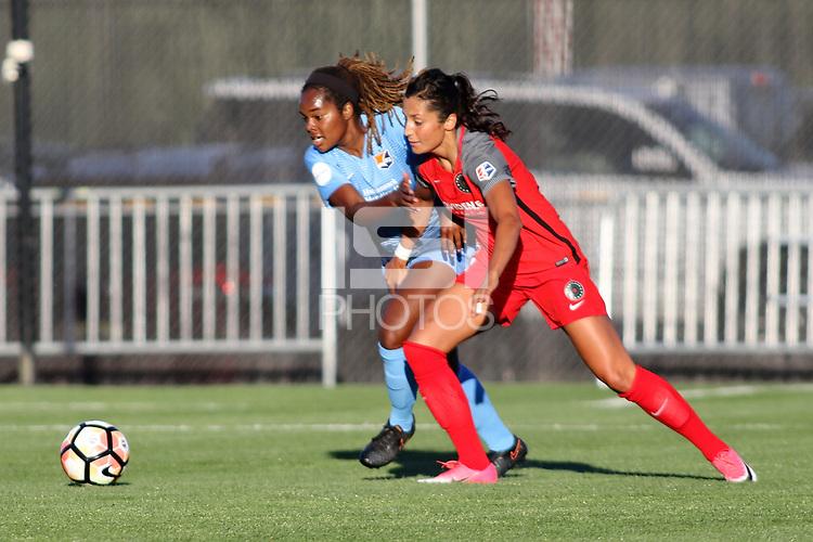 Piscataway, NJ - Saturday June 3, 2017:Kayla Mills, Nadia Nadim during a regular season National Women's Soccer League (NWSL) match between Sky Blue FC and the Portland Thorns at Yurcak Field.  Portland defeated Sky Blue, 2-0.