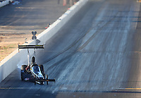 Feb 24, 2017; Chandler, AZ, USA; NHRA top fuel driver Troy Buff gets his dragster sideways during qualifying for the Arizona Nationals at Wild Horse Pass Motorsports Park. Mandatory Credit: Mark J. Rebilas-USA TODAY Sports