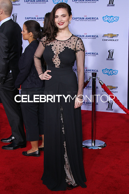 """HOLLYWOOD, LOS ANGELES, CA, USA - MARCH 13: Hayley Atwell at the World Premiere Of Marvel's """"Captain America: The Winter Soldier"""" held at the El Capitan Theatre on March 13, 2014 in Hollywood, Los Angeles, California, United States. (Photo by Xavier Collin/Celebrity Monitor)"""