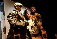 """BOGOTÁ-COLOMBIA-19-04-2014. Presentación de la obra """"El Monte Calvo"""" del grupo de Teatro Cárcel de Villahermosa, Cali, Colombia, realizado en La Casa del Teatro Nacional, sala La Sinagoga, de Bogotá y que forma parte de la programación del XIV Festival Iberoamericano de Teatro de Bogotá 2014./  Play """"El Monte Calvo"""" of the Villahermosa Jail group of Theatre from Cali, Colombia, performed at La Casa del Teatro Nacional, La Sinagoga room, of Bogota as a part of  schedule of the XIV Ibero-American Theater Festival of Bogota 2014.  Photo: VizzorImage/ Gabriel Aponte /Staff"""
