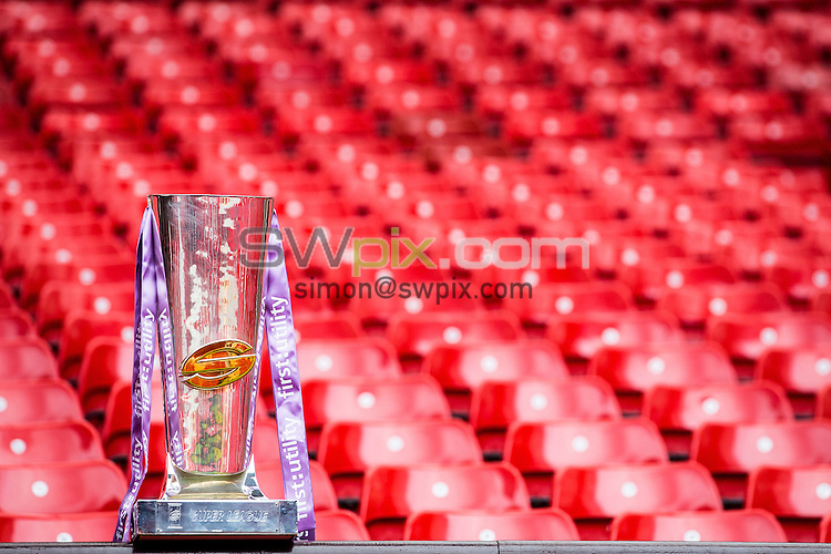 Picture by Alex Whitehead/SWpix.com - 05/10/2015 - Rugby League - 2015 First Utility Super League Grand Final Preview - Leeds Rhinos v Wigan Warriors - Old Trafford, Manchester, England - Super League trophy.