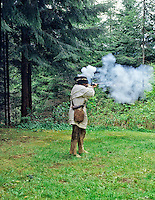 Demonstration musket firing at Fort Clatsop, Oregon.